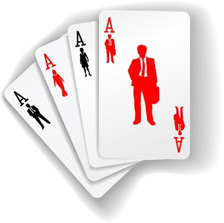 hand business card: Tute sono gli abiti su quattro assi di affari risorse umane persone lavoro carte da gioco
