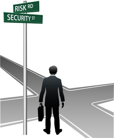 cruce de caminos: Empresario elegir direcci�n futura en encrucijada de vida elecci�n de riesgo seguridad