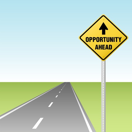 encouraging: Arrow points to OPPORTUNITY AHEAD traffic sign on a road or highway