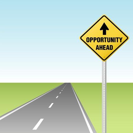 Flecha apunta al tráfico de oportunidad adelante firma en una carretera o autopista Ilustración de vector