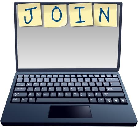 Sticky Notes Computer laptop gebruikersadvertentie om lid te worden van een abonnementwebsite voor tekst of afbeelding Stock Illustratie