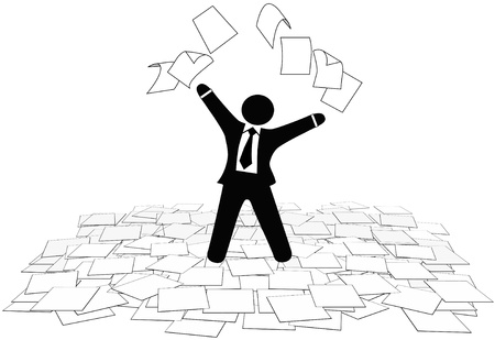 A business man throws office paper work pages into air and on floor. Stock Illustratie