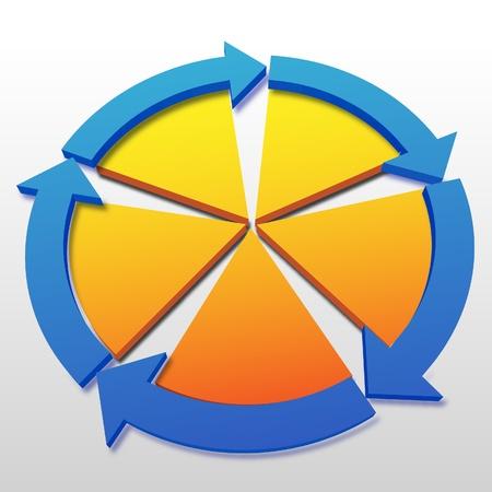 Abstracte achtergrond copyspace voor vijf systeem process management cyclus concepten.
