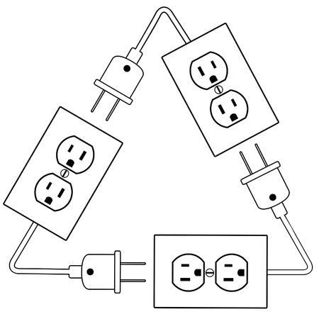 Recycle symbool van elektrische energie als stopcontacten, stekkers en snoeren. Stock Illustratie