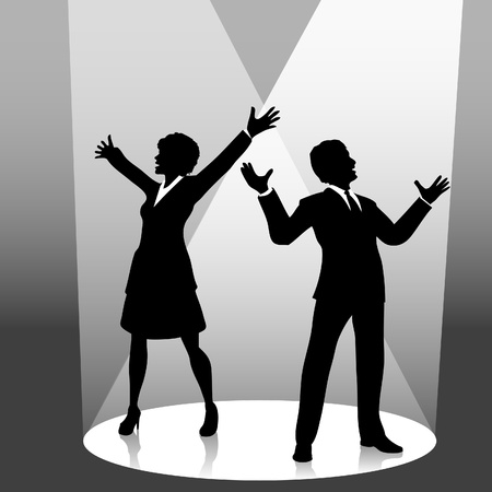 A business man symbol raises his fist in celebration of success on stage in a spotlight. Vettoriali