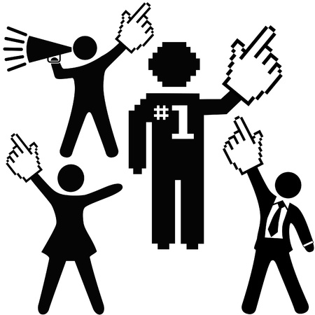 A set of number 1 symbol people raise up pixel cursor hand icons high to celebrate one success.