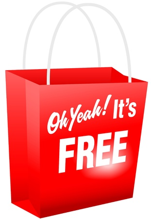 giveaway: Retail giveaway Oh Yeah Its FREE red shopping bat for internet website or print
