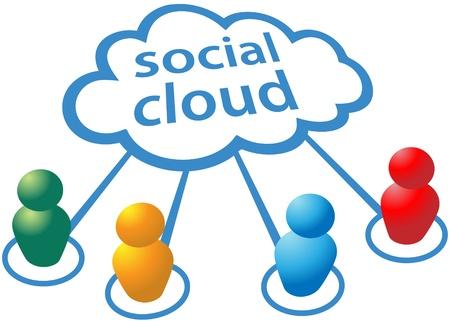 Symboles de gens des médias sociaux se connecter au réseau informatique de nuages Banque d'images - 9932866