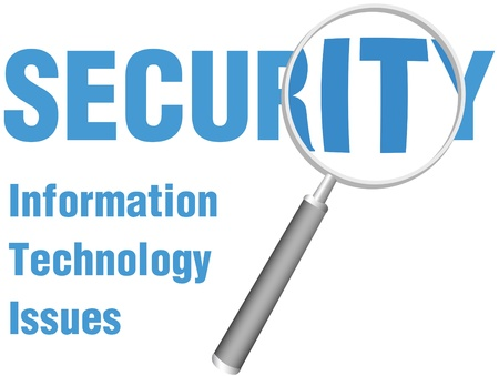 secure security: Magnifying glass focus look at close up of IT Security Technology Issues