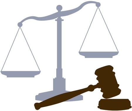 Escalas y martillo como símbolos de los abogados de la ley y el sistema de tribunales de Justicia legal Ilustración de vector