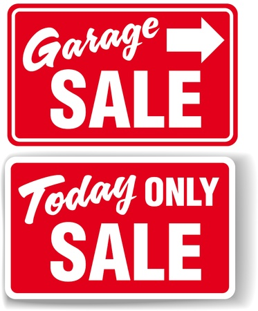 Garage arrow Today ONLY SALE red signs drop shadow or white border 向量圖像