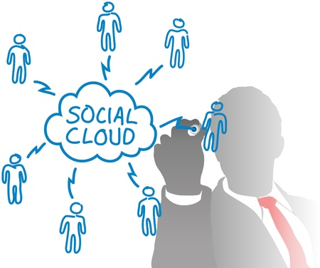 frosted: Business person connects cloud computing and social media people in a network chart from behind frosted glass Illustration