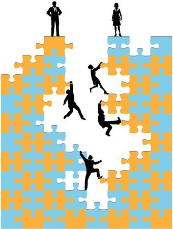 사업 사람들의 회사는 기업의 성공을 촉진 직소 퍼즐 올라