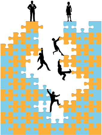struggling: Company of business people climb up corporate success promotion jigsaw puzzle