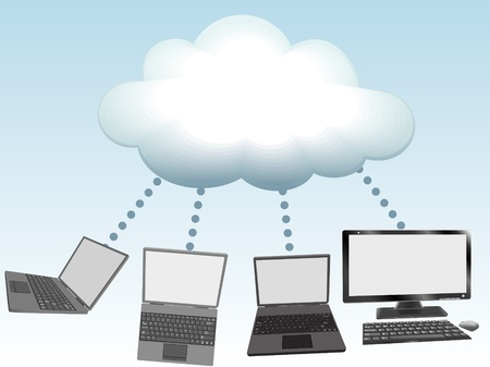 Laptop and desktop computers connect to cloud computing network information technology Vector