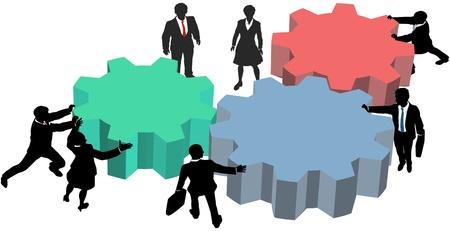 Mensen uit het bedrijfsleven silhouetten duwen versnellingen samen om een plan voor vorm