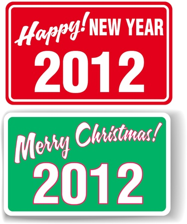 Merry Christmas Happy NEW YEAR 2012 retail store window style signs Stock Vector - 10293101
