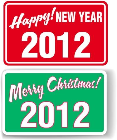 store window: Vrolijk Kerstmis HAPPY NEW YEAR 2012 winkel raam stijl tekenen Stock Illustratie