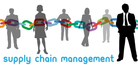 scm: Enterprise SCM manager and outsourcing supply chain management business people Illustration