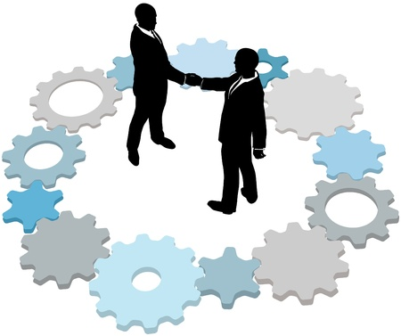 business partnership: Business form partnership or do a deal inside ring of technology gears