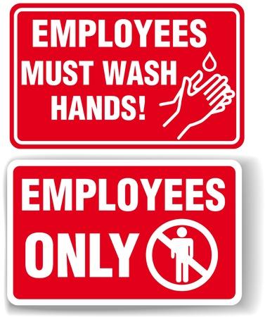 従業員だけと従業員は手を洗う必要があります兆候ドロップ シャドウまたは白の境界線