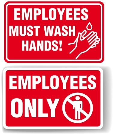 water sanitation: EMPLOYEES ONLY and EMPLOYEES MUST WASH HANDS signs with drop shadow or white border