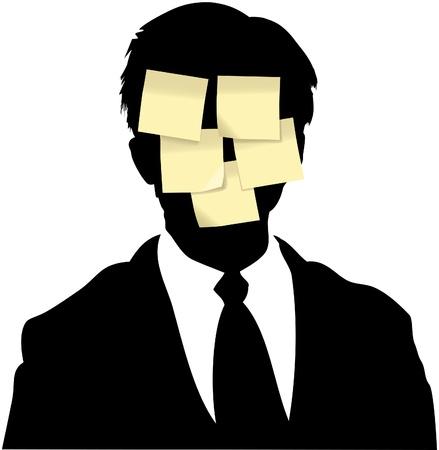 recordar: Notas adhesivas memo como espacio de copia en segundo plano cara de hombre de negocios de silueta