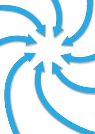 Circle group of eight arrows curve and spiral inward to point at copy space in the center Stock Illustratie