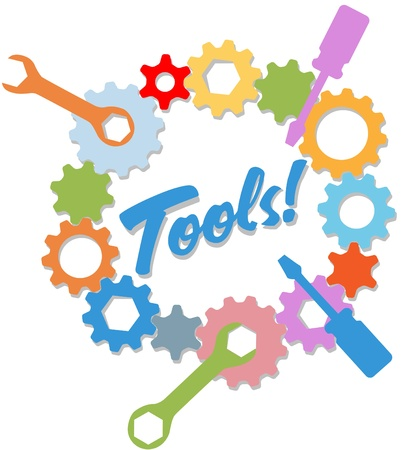 herramientas de mecánica: Coloridas herramientas en un anillo de ingeniería de tecnología de diseño de engranajes