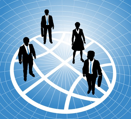 Group of business people stand on a sectors or zones of a world globe symbol grid Ilustração