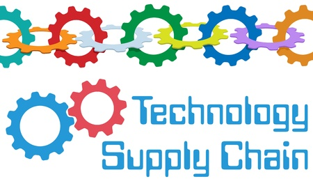 leveringen: Keten van tandwielen vormen een symbool van SCM onderneming Supply Chain Management-technologie Stock Illustratie