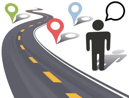 guia turistica: Persona viaja al lado de la carretera con marcadores de lugar de Geograf�a de carretera lateral
