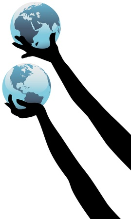 lifted hands: Earth people hands holding up planet Eastern and Western Hemispheres Illustration