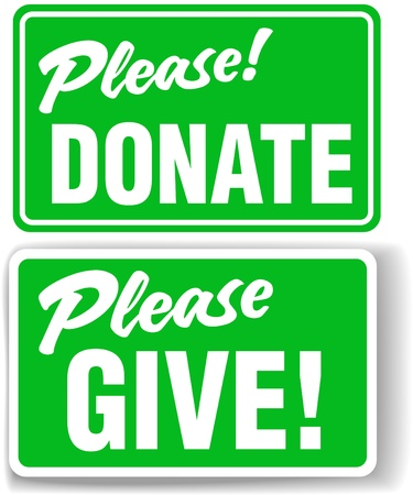 Please Donate and Give Green Store-front-style Sign Set Stock Vector - 10703463