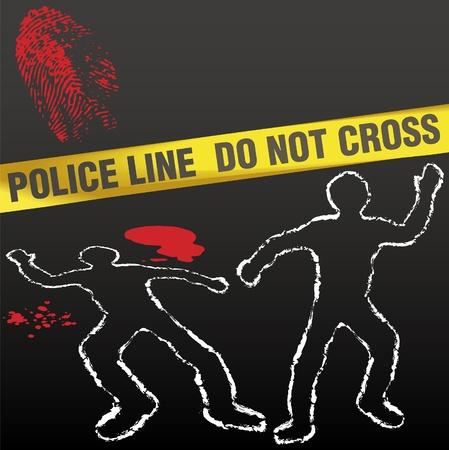 murder: Crime scene with police tape corpse chalk outlines and bloody fingerprint