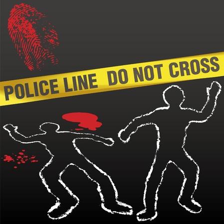 escena del crimen: Escena del crimen con contornos de tiza de cadáver de policía cintas y huella sangrienta Vectores