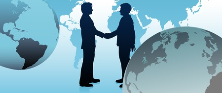 world trade: Global business people handshake to agree in international economy pact Illustration