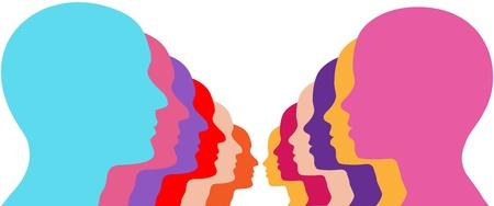 Rijen van man vrouw koppels gezicht uit als mannen en vrouwen silhouetten