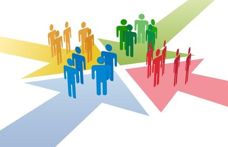 Cuatro grupos de personas se reúnen y se conectan en la intersección de 4 flechas