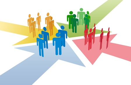 cruce de caminos: Cuatro grupos de personas se re�nen y se conectan en la intersecci�n de 4 flechas Vectores