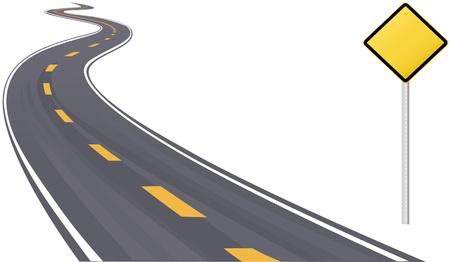 carretera: Se�ales de tr�fico, como espacio de informaci�n de copia en curva la carretera hacia el horizonte