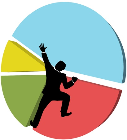 Business man climbs up a pie chart to strive for bigger piece of market share Vectores