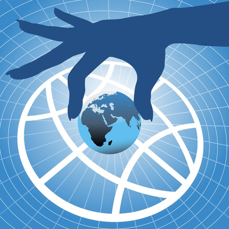 hand lifted: Person hand holding up planet Eastern hemisphere over globe symbol and grid background Illustration