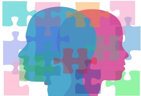puzzelen: Paar man en vrouw gezicht raadselachtige interpersoonlijke problemen moeten counseling