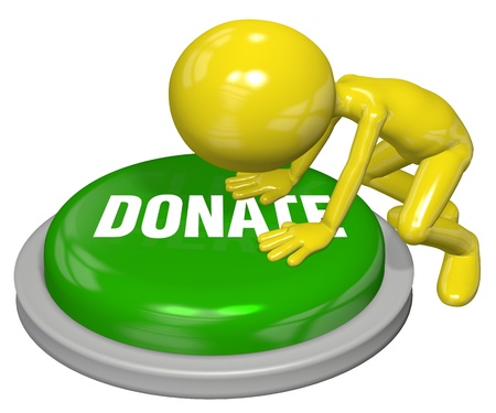 charitable: Cartoon person pushes button to DONATE a contribution on a website Stock Photo
