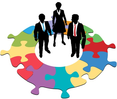 three colors: Team of three business people solve a circular jigsaw puzzle problem