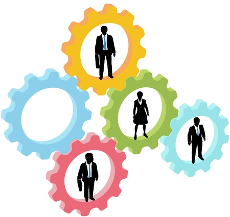 gears concept: Team of business people work inside technology gears, with one gear open as copy space Illustration