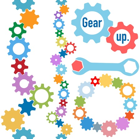 gears concept: Colorful gears and wrench and bolt Gear Up to form line and circle borders