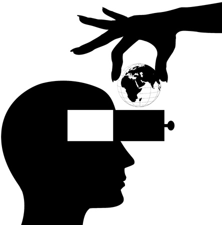 instruct: Hand puts globe into head open mind drawer of silhouette man Illustration