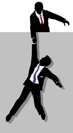 ayudando: Persona de negocios que ayuda a un compa�ero de trabajo en problemas con una mano de ayuda a Vectores